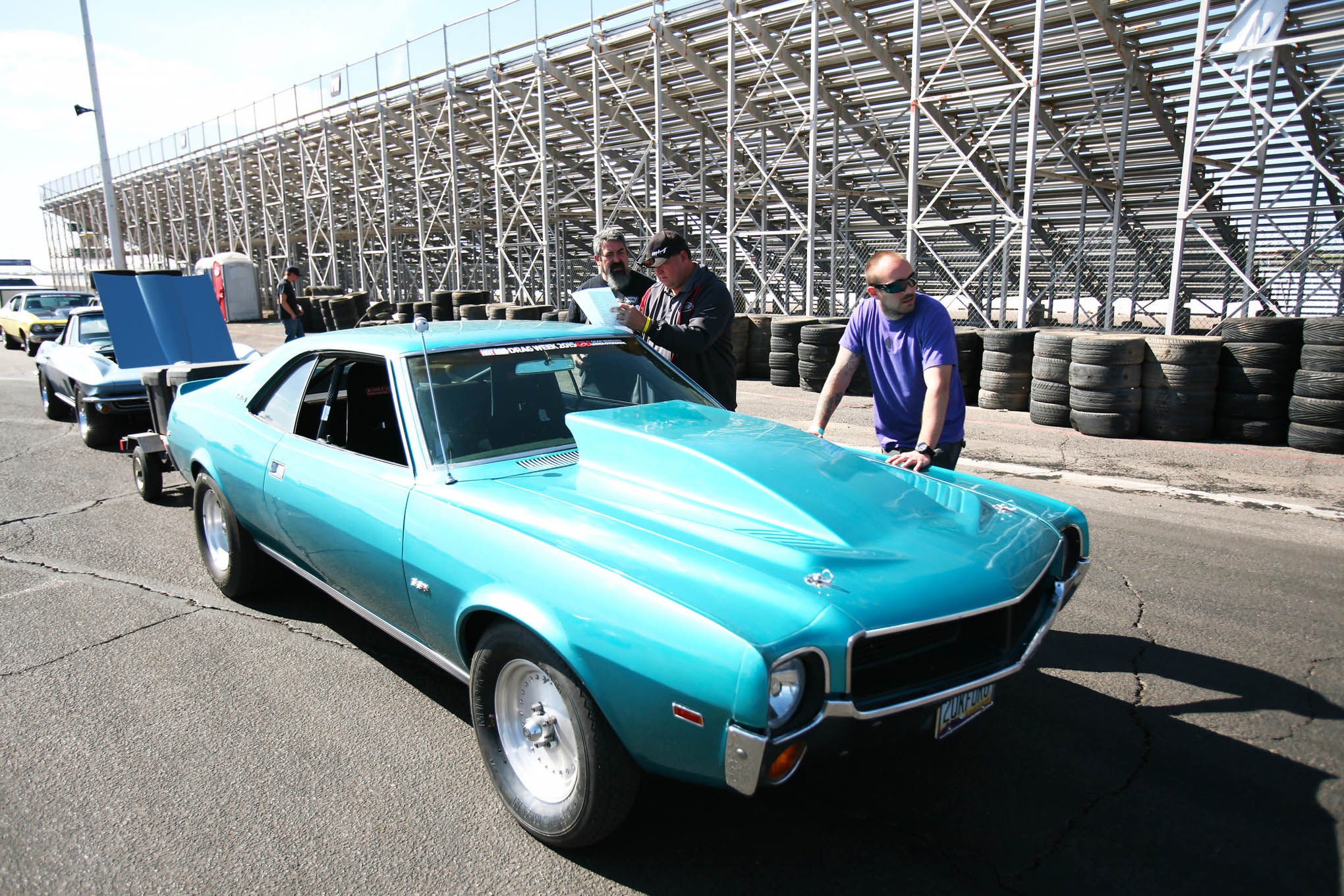 Tony Sanchez brought Drag Weekend West's only AMC. His 1969 Javelin is one of the loudest cars on track and consistently ran mid-10s on Drag Week 2015.