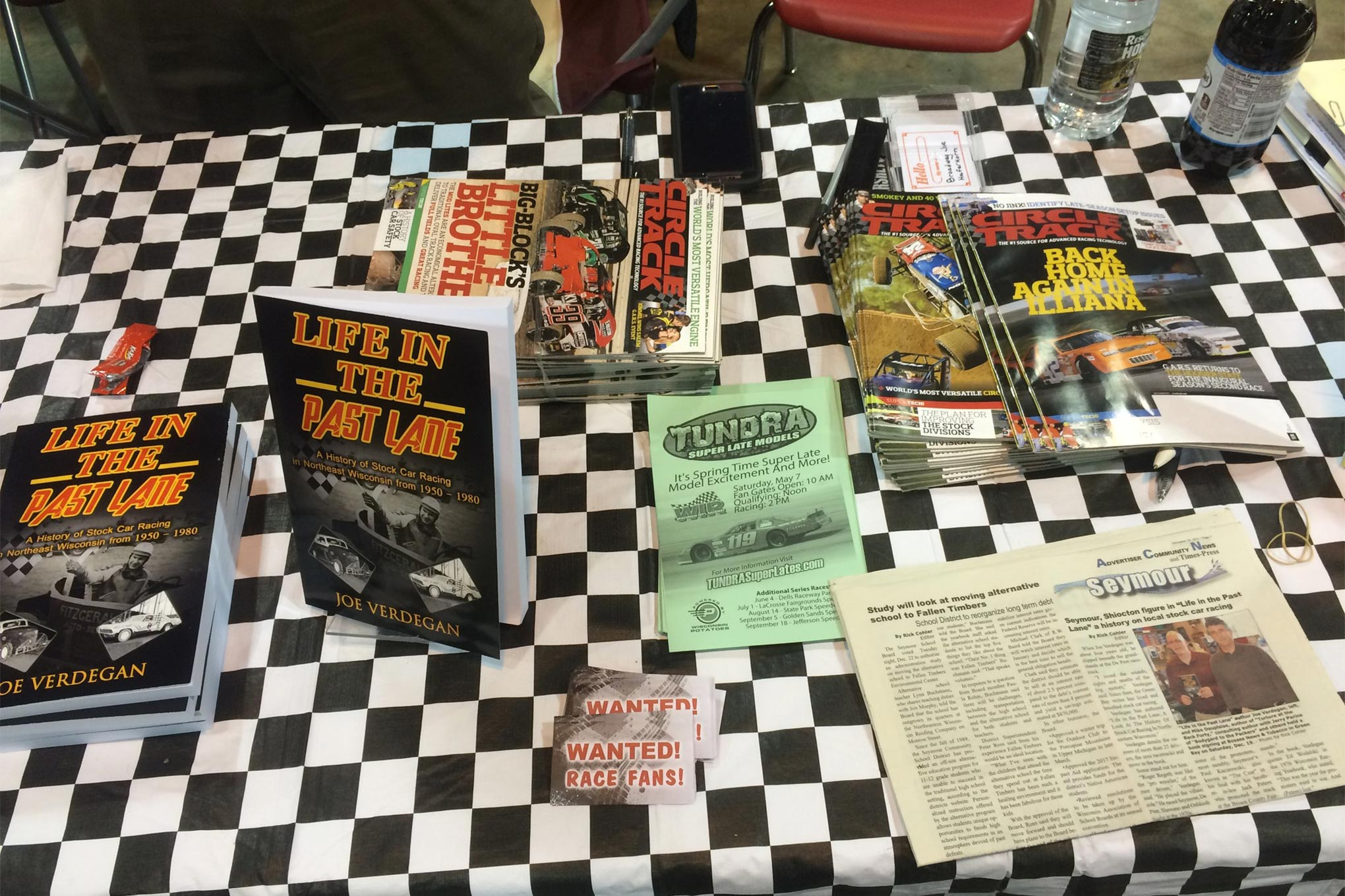 Joe Verdegan was gracious enough to distribute some magazines for us.  His booth may have been one of the busiest.  His book Life in the Past Lane is all about the early days of racing in Northeast Wisconsin.