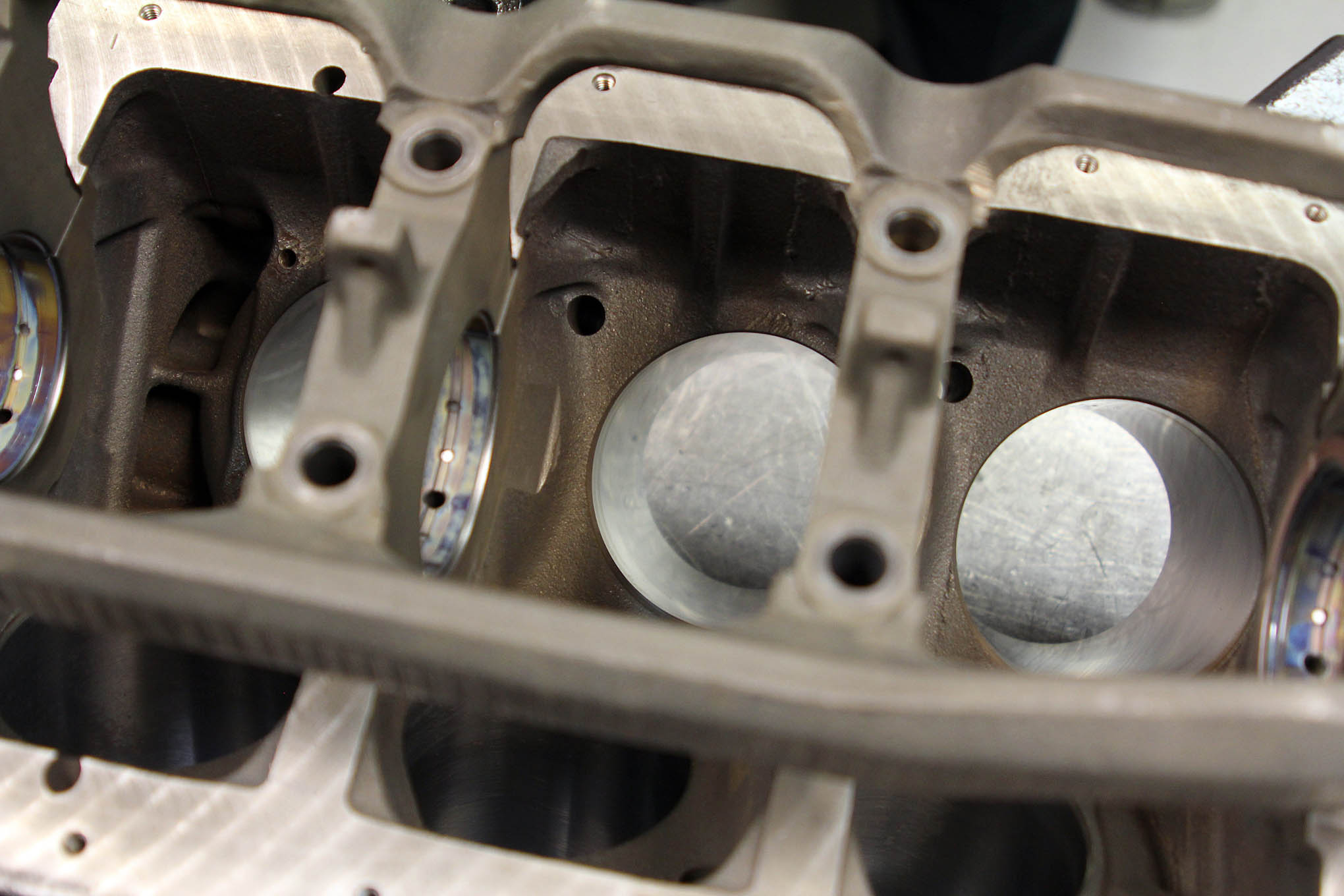 The stock cylinder bore is pretty small at just 3.43 inches. Rules typically allow a maximum overbore of 0.020 or 0.030 inches. For this rebuild, KT Engines honed the cylinders a minimal amount so that the racer should still be able to use this block for future rebuilds.
