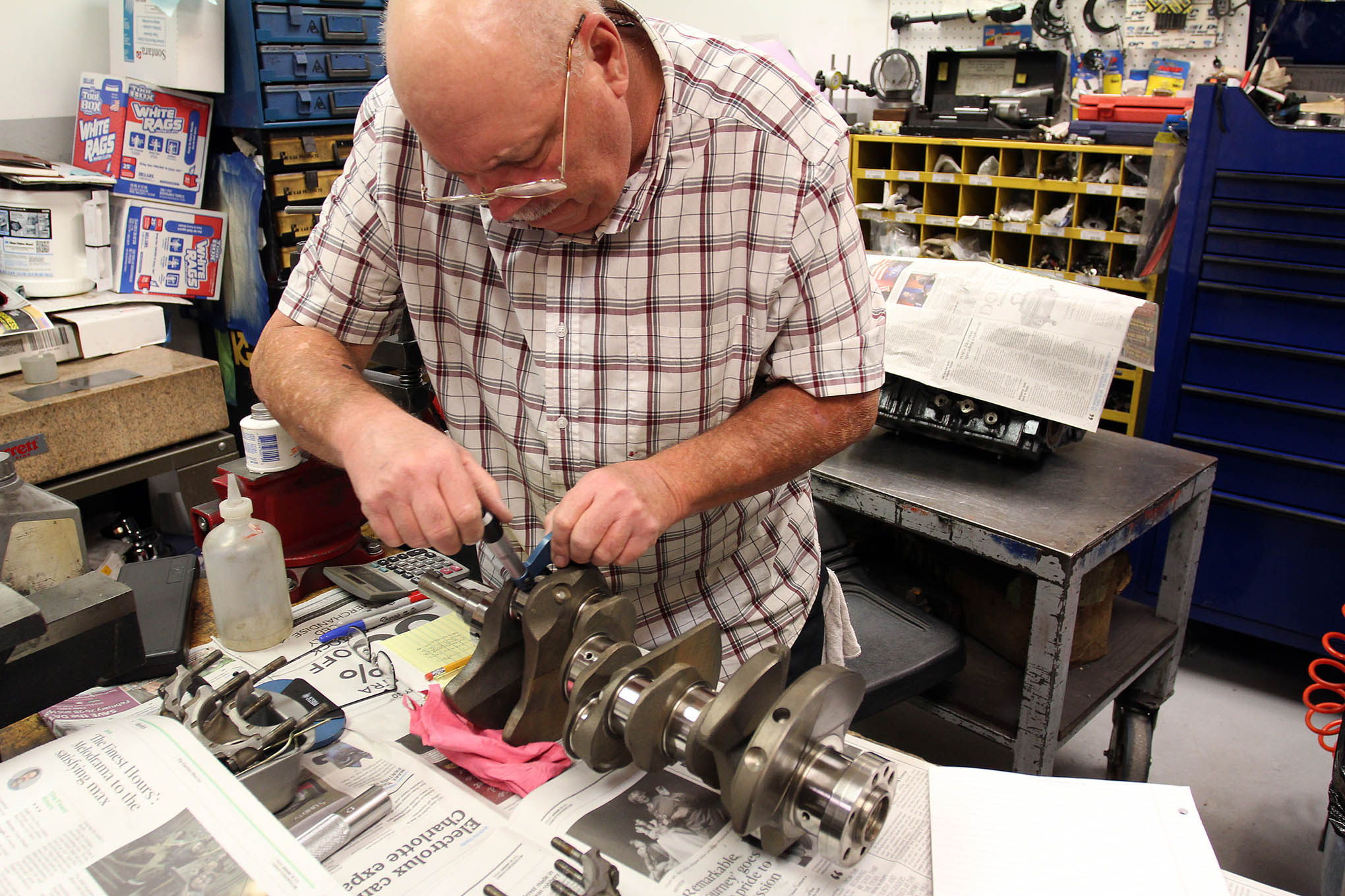Thankfully, KT Engines' engine assembler Mike Blackwell says the stock crank checked out to spec, so it can be used for another go-round of racing. The rod journals spec in at 1.967 inches while the mains measure up at 2.479 inches.