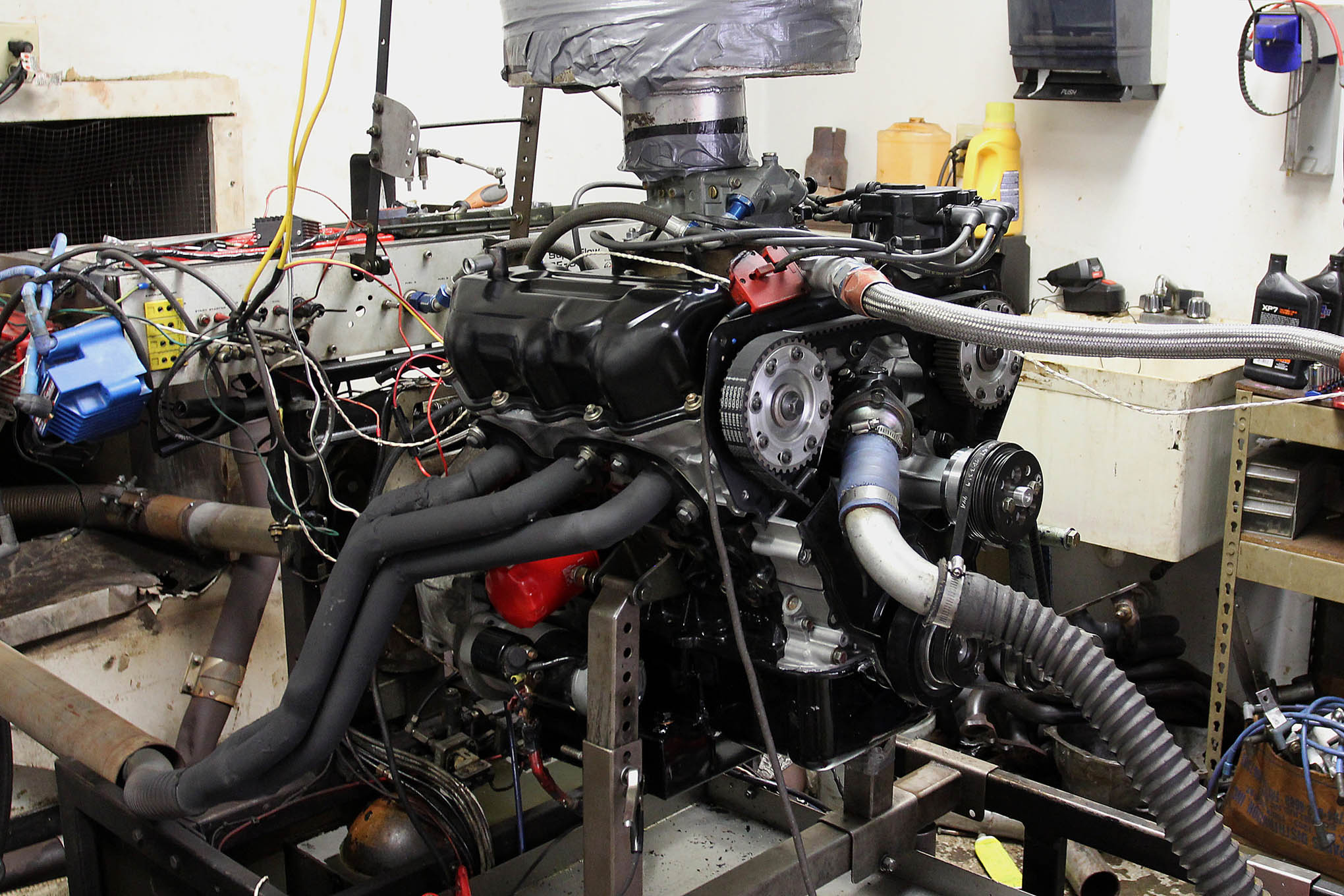 On the dyno the little V6 performed surprisingly well. Horsepower tops out at just under 200, but it has a broad torque curve and we're told the results make for a peppy race car on the track.