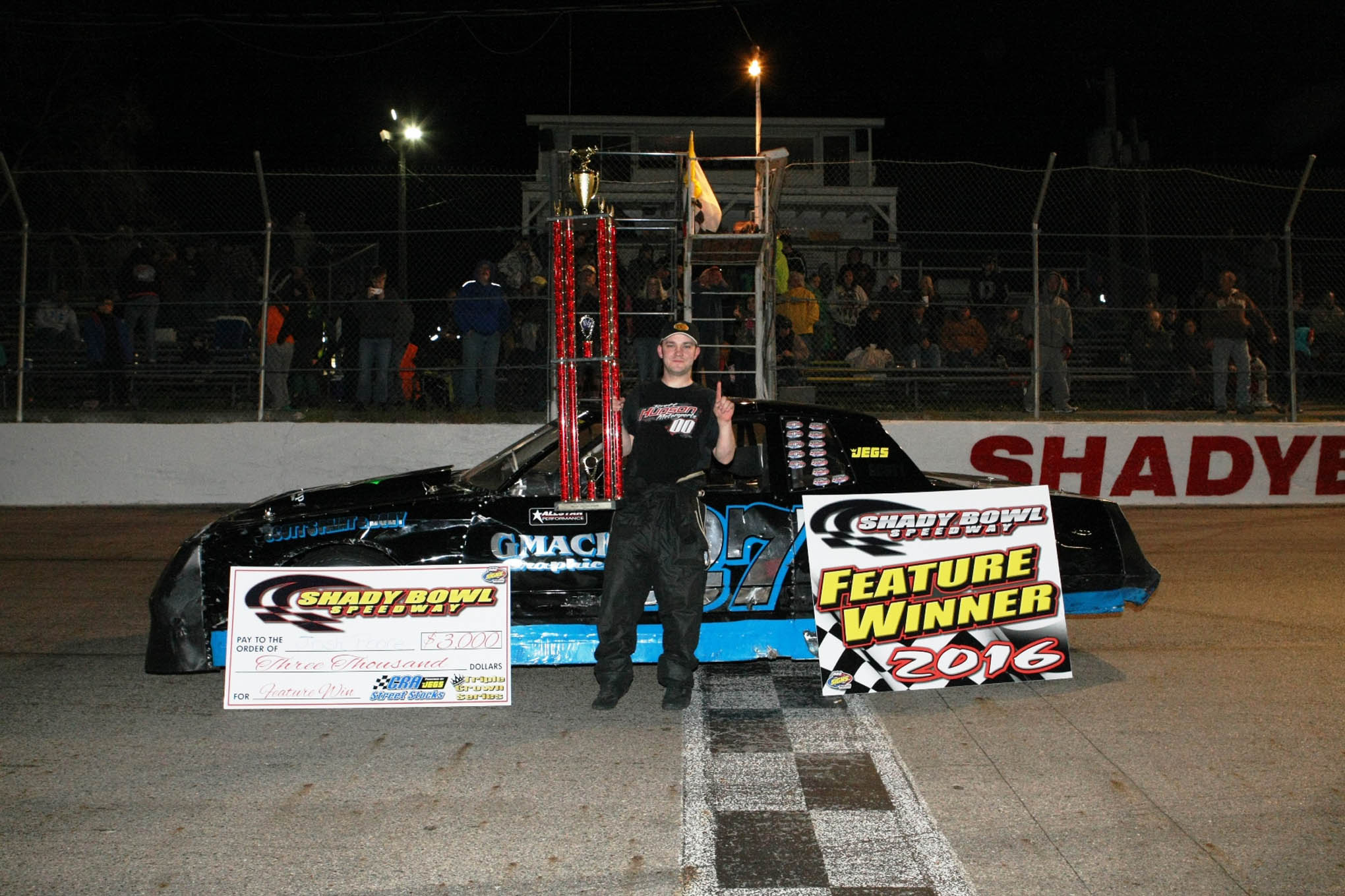 Josh Poore celebrates a win in the Shady Bowl 200
