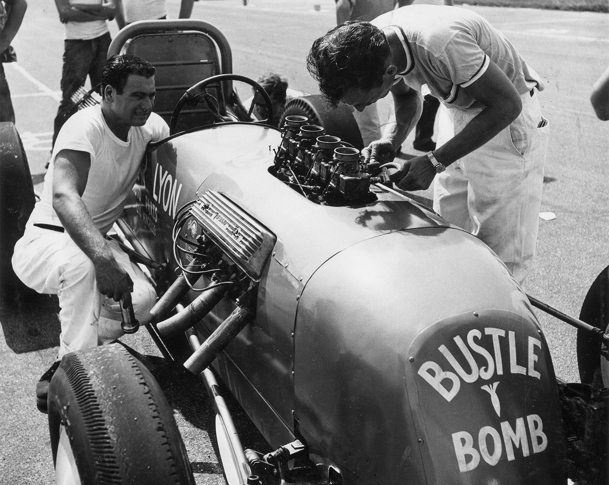 Goldberg (left) and Scotty (at carburetors), during the Annual Automobile Timing Association of America (ATAA) World Series of Drag Racing, Lawrenceville, Illinois.
