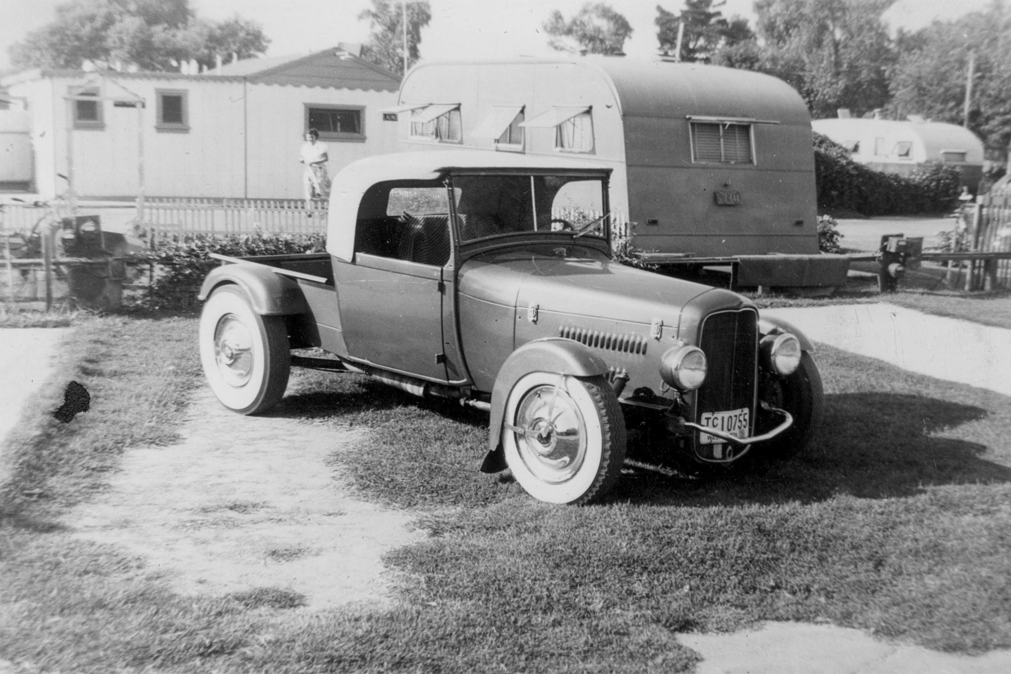 """The Model A roadster pickup that Bustle Bomb's owner and driver, Lloyd """"Scotty"""" Scott, built prior to moving back to Long Beach, California, in approximately 1951."""