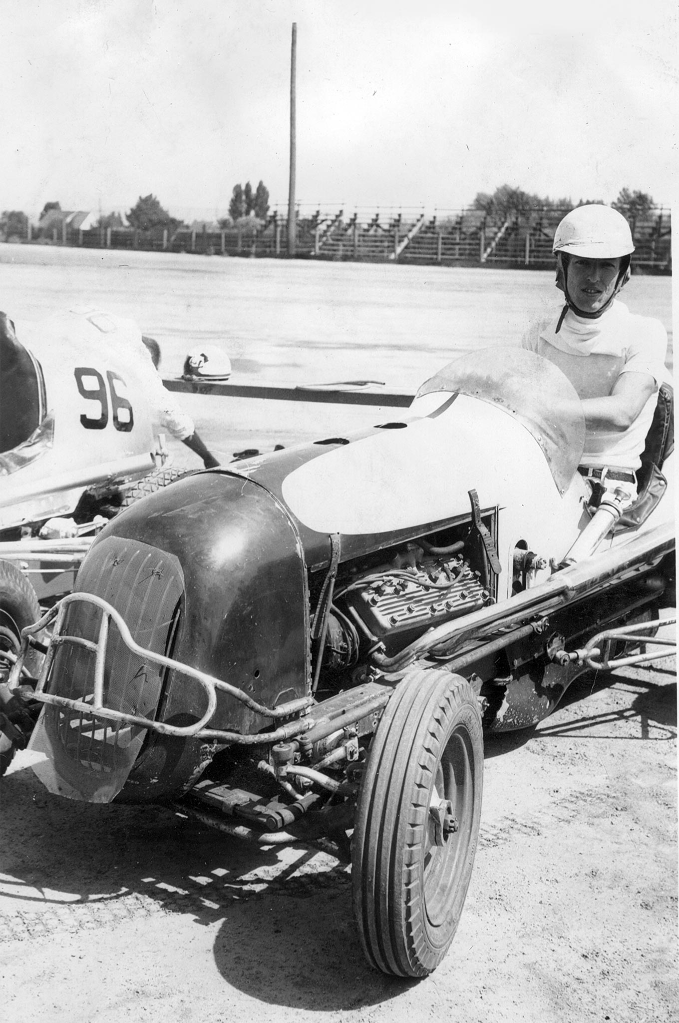 Scotty driving another team's Sprint Car, presumably at Spokane's Division and Francis track or in Baker City, Oregon. At Baker City, dust crept through poor-quality goggles, effectively blinding him, but he finished third.