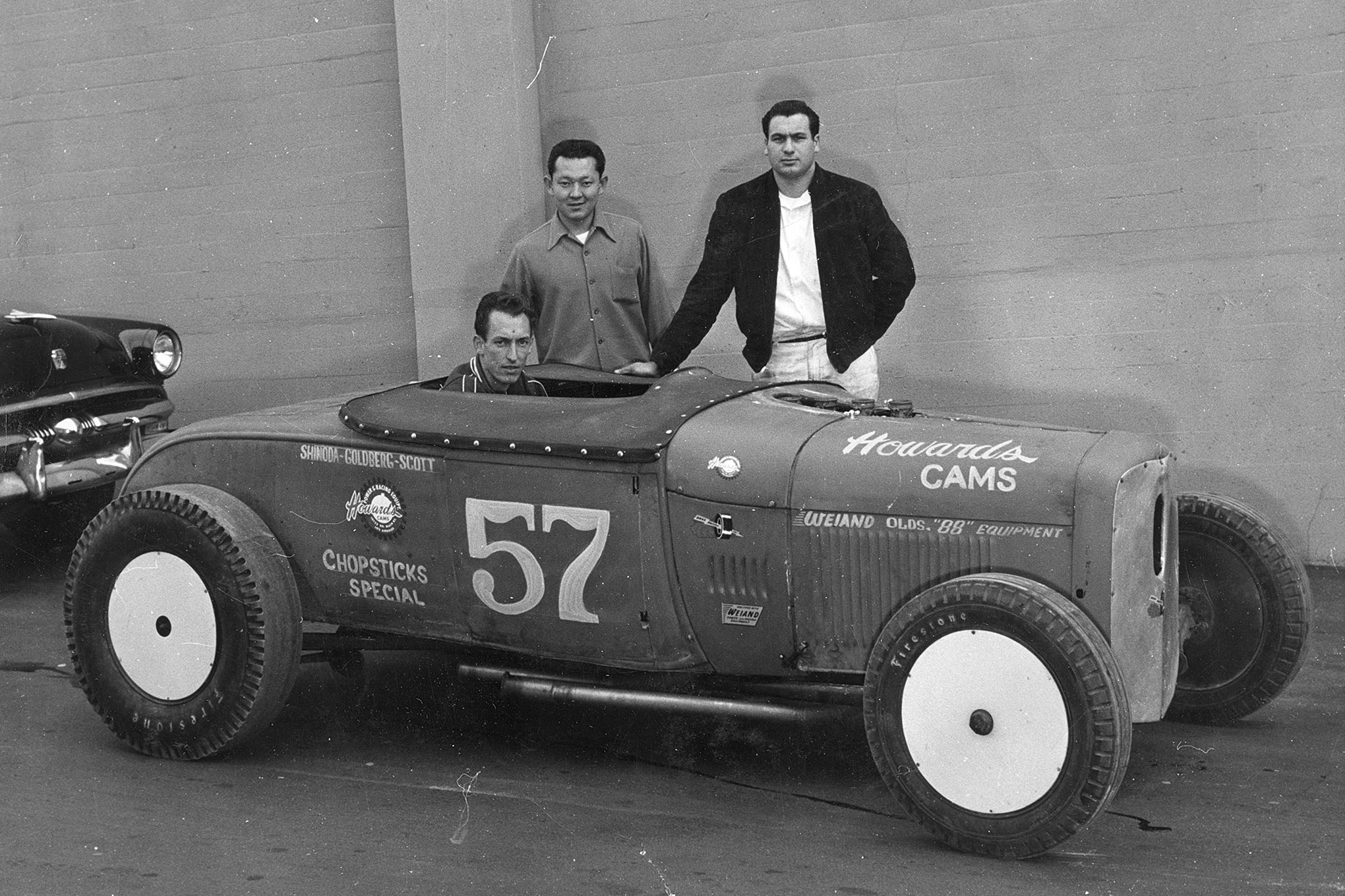 The last Chopsticks Special team had Larry Shinoda (left), Harvey Goldberg (right), and Scotty (seated). The team dissolved when Shinoda went to work for Ford in 1955. Chopsticks and Bustle Bomb ran Olds power, presumably the same engine (Goldberg's).