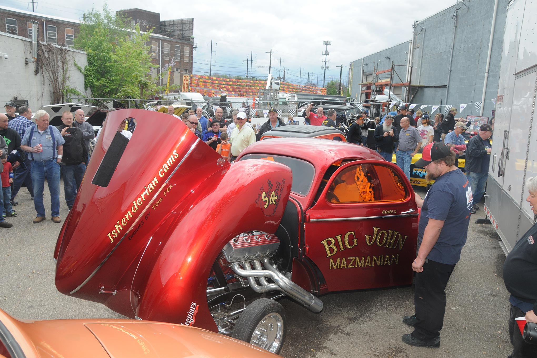 Jets to Gassers: Ken Hall, who normally drives a jet car but also from time to time can be found behind the wheel of a gasser, fires up the Big John Mazmanian tribute car, much to the delight of the 300 people who attended Rocky Pirrone's Open House.