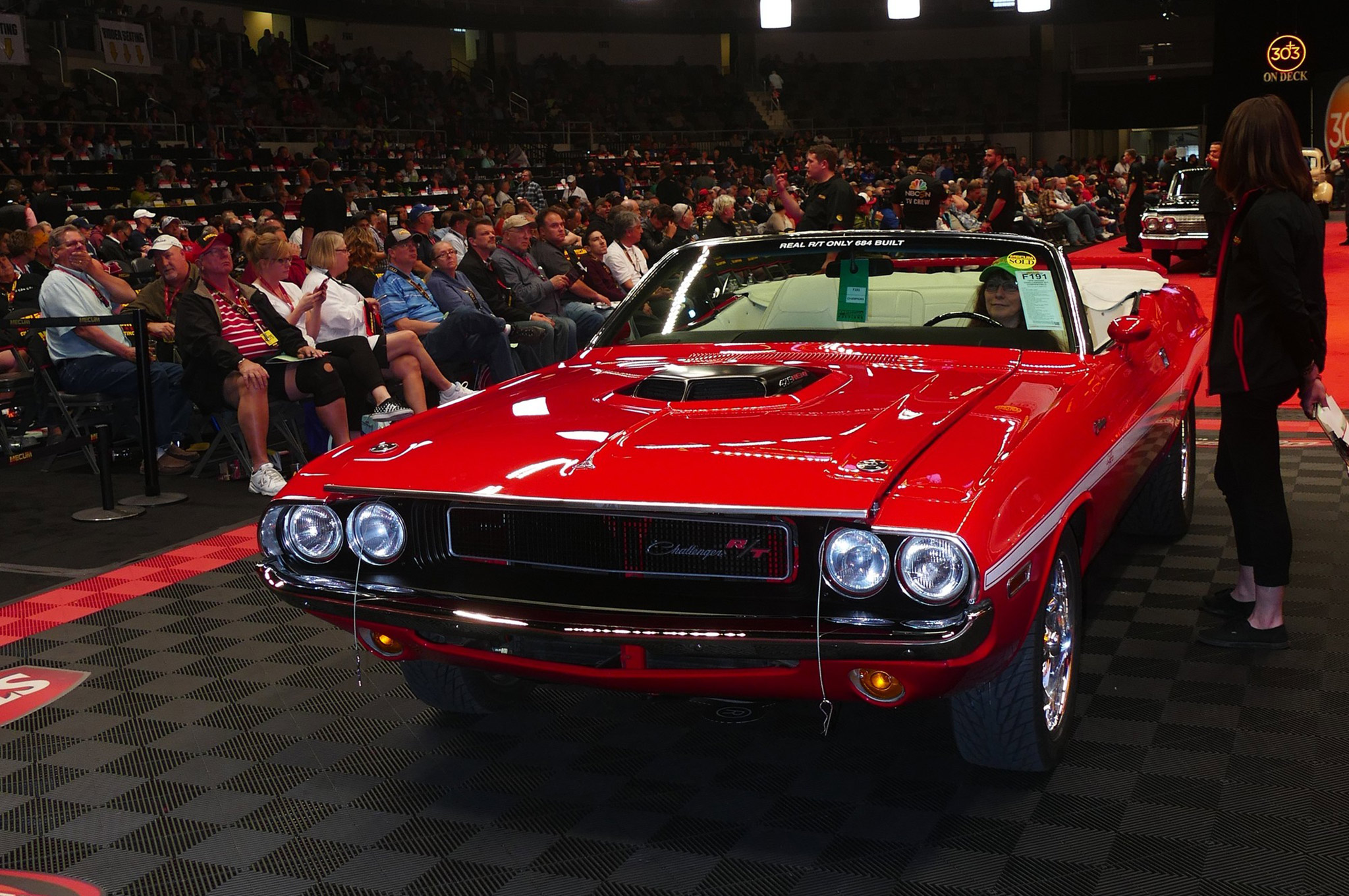 This convertible Challenger R/T was born with a 383 but had some serious upgrades including a Hemi engine; somebody took it home with a final hammer price of $81,000.