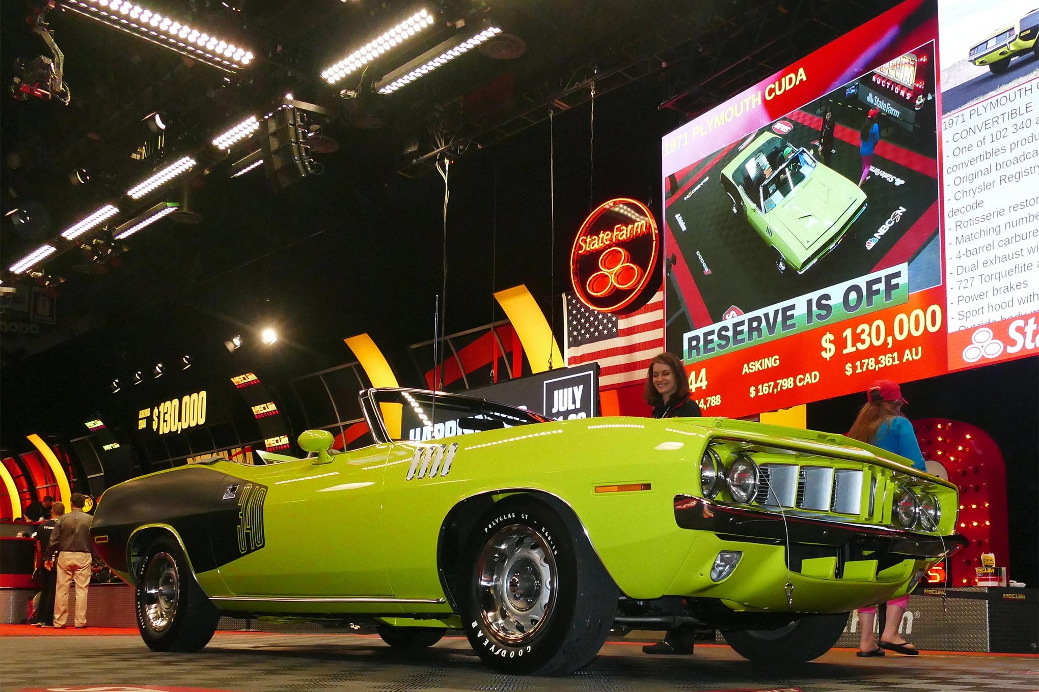 One more for tonight was the $125,000 winning bid this 340 'Cuda convertible (lot S144) generated.