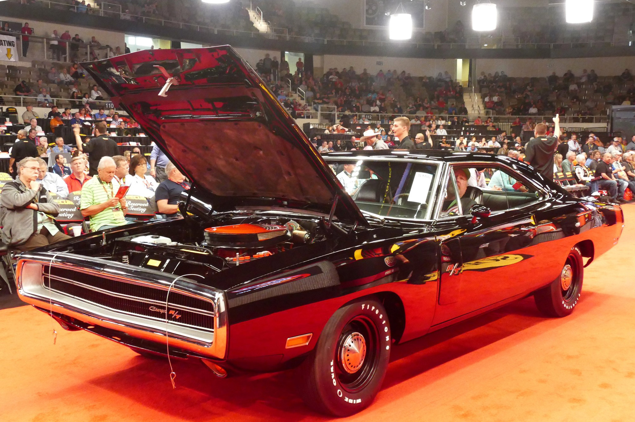 This 1970 Dodge Charger featured a Six Pack and good paperwork. Showing the strength of the V-code package, it was bid to $105,000.
