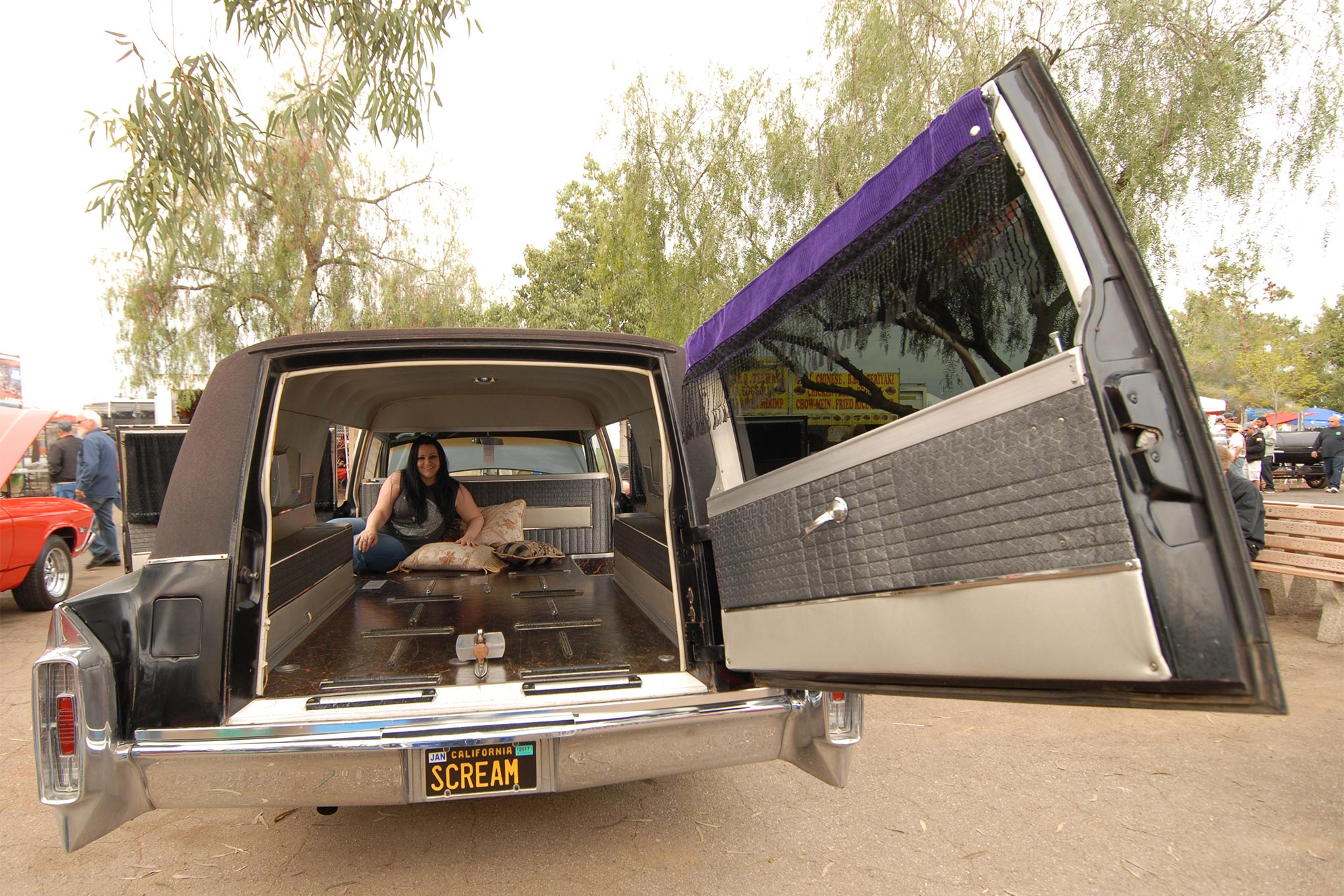 Bakersfield's Marie Wagoner and Danny Saunders displayed this rare pair. Marie's 500-inch '65 Caddy hearse is all original and unbelievably cherry at just 82,400 miles. The unrestored '36 Harley has been in Danny's family since his grandpa purchased what he claims to be the sixth knucklehead off the assembly line.