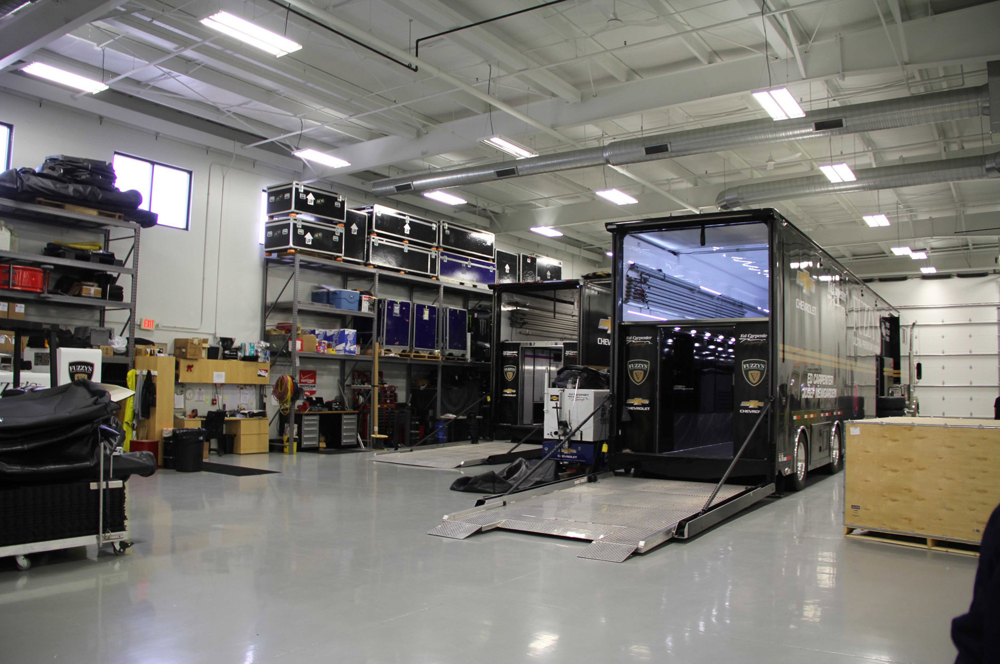 This area of the shop is used for equipment storage, and the trucks and trailers double as rolling shops, especially when back-to-back races do not allow for the team to return to the shop.