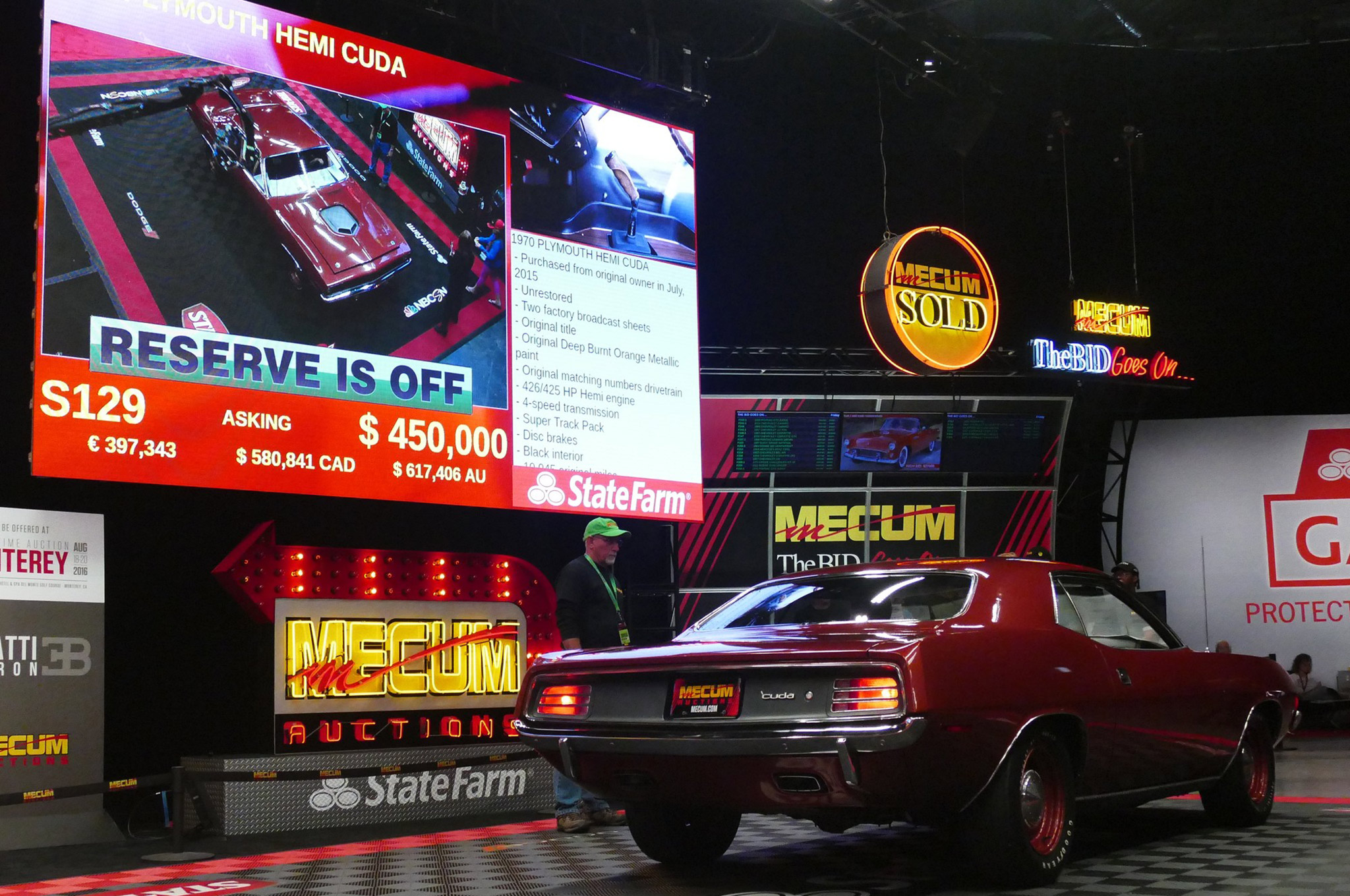 This was lot S129, an unrestored Hemi 'Cuda with very limited ownership, excellent originality, and a final hammer price of $425,000. You can find other images of this car are in the Mecum Indy photo gallery, below.