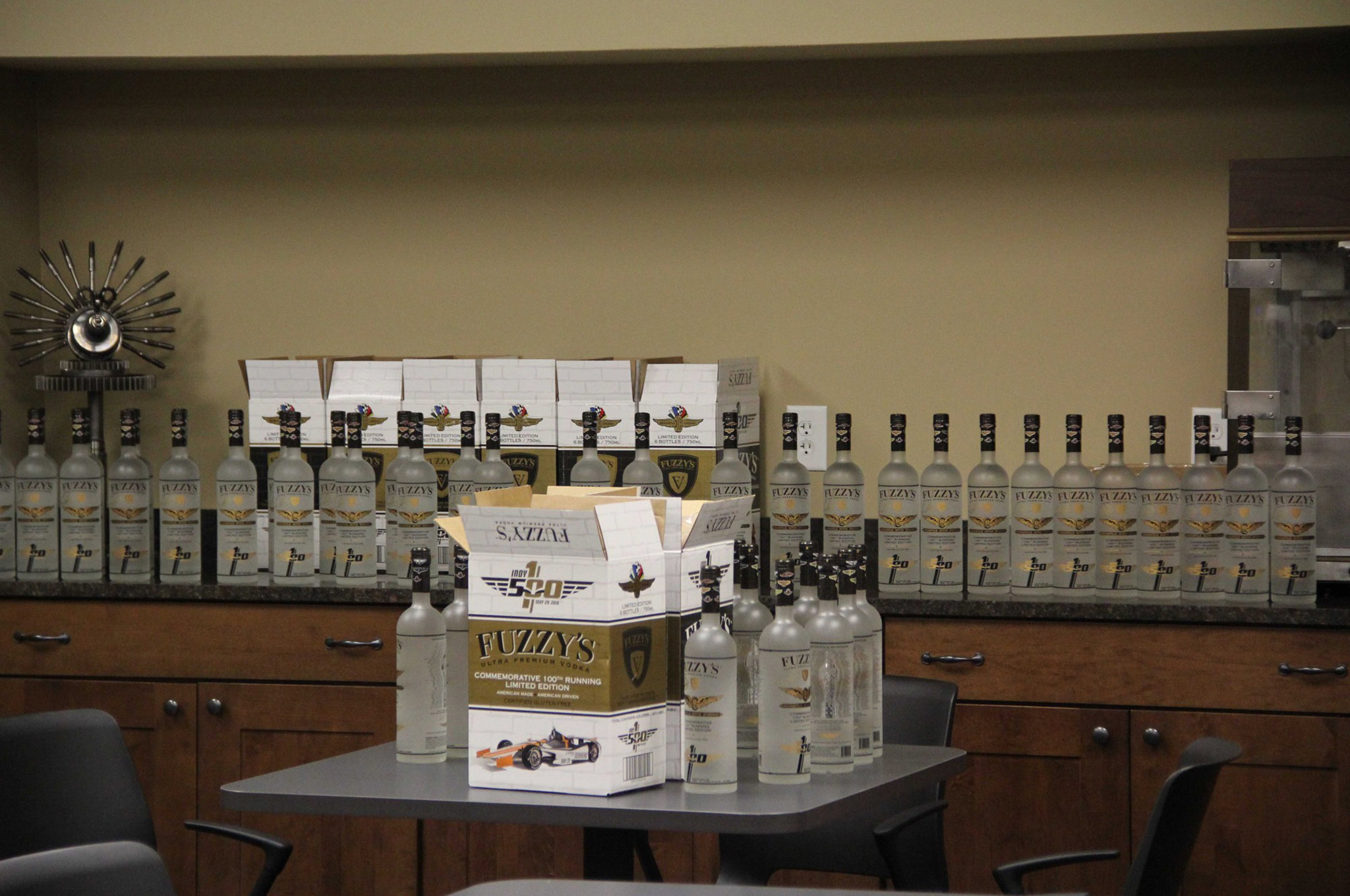 Fuzzy's Vodka is one of Carpenter's main car sponsors, so the lunchroom was stocked in case of a severe snowstorm or tornado were to strand the team in the shop.