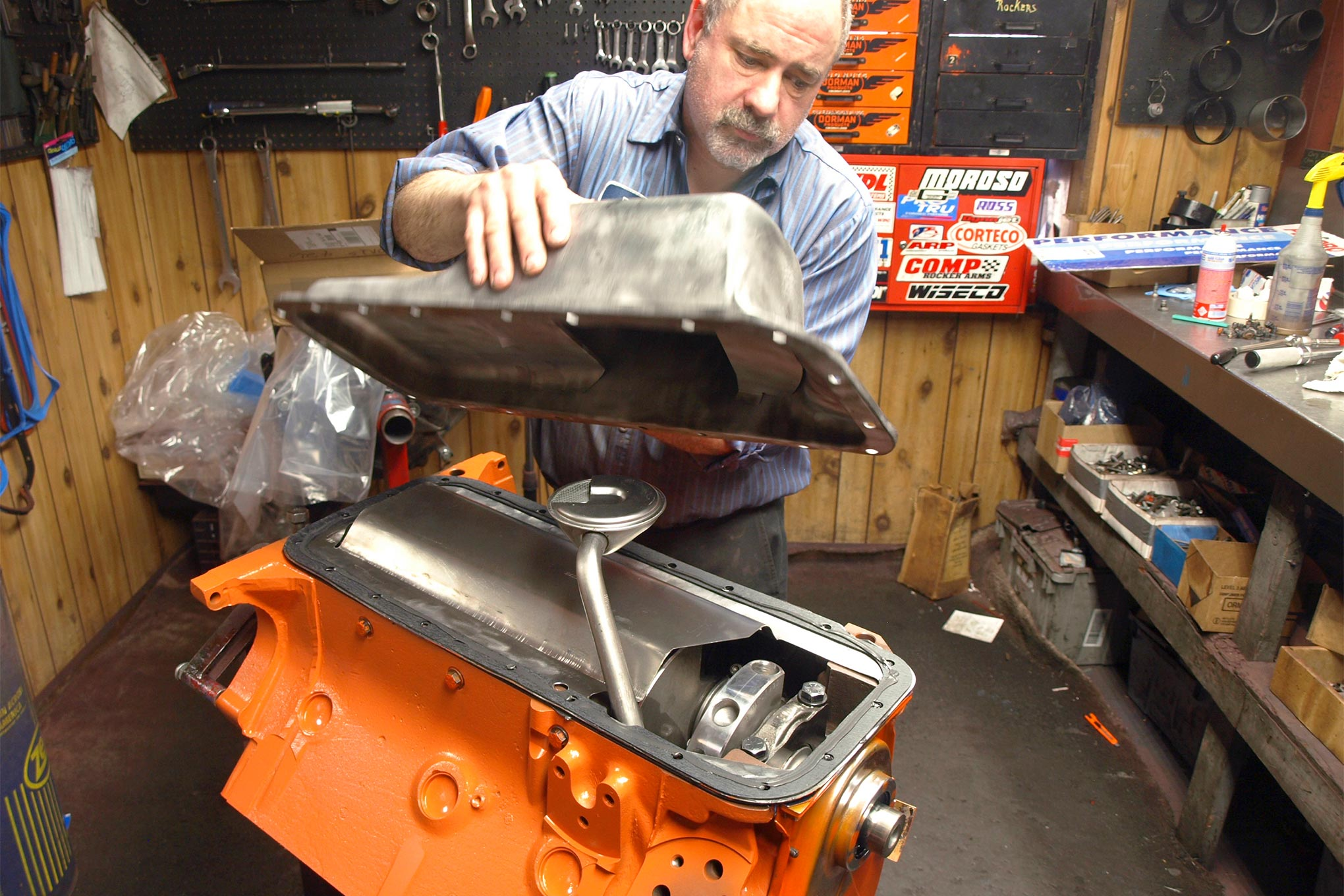 In keeping with the resto vibe of the Hemi 'Cuda clone host, R.A.D. reused the crate engine's oil pan (PN 4529884). At 6 quarts, it's a full quart larger than a 383 or 440 unit and is a copy of a Street Hemi unit, right down to its anti-slosh baffles. The 1/2-inch oil pickup tube (PN 4529567) and windage tray (PN 4120998) are also standard-issue Street Hemi goodies.
