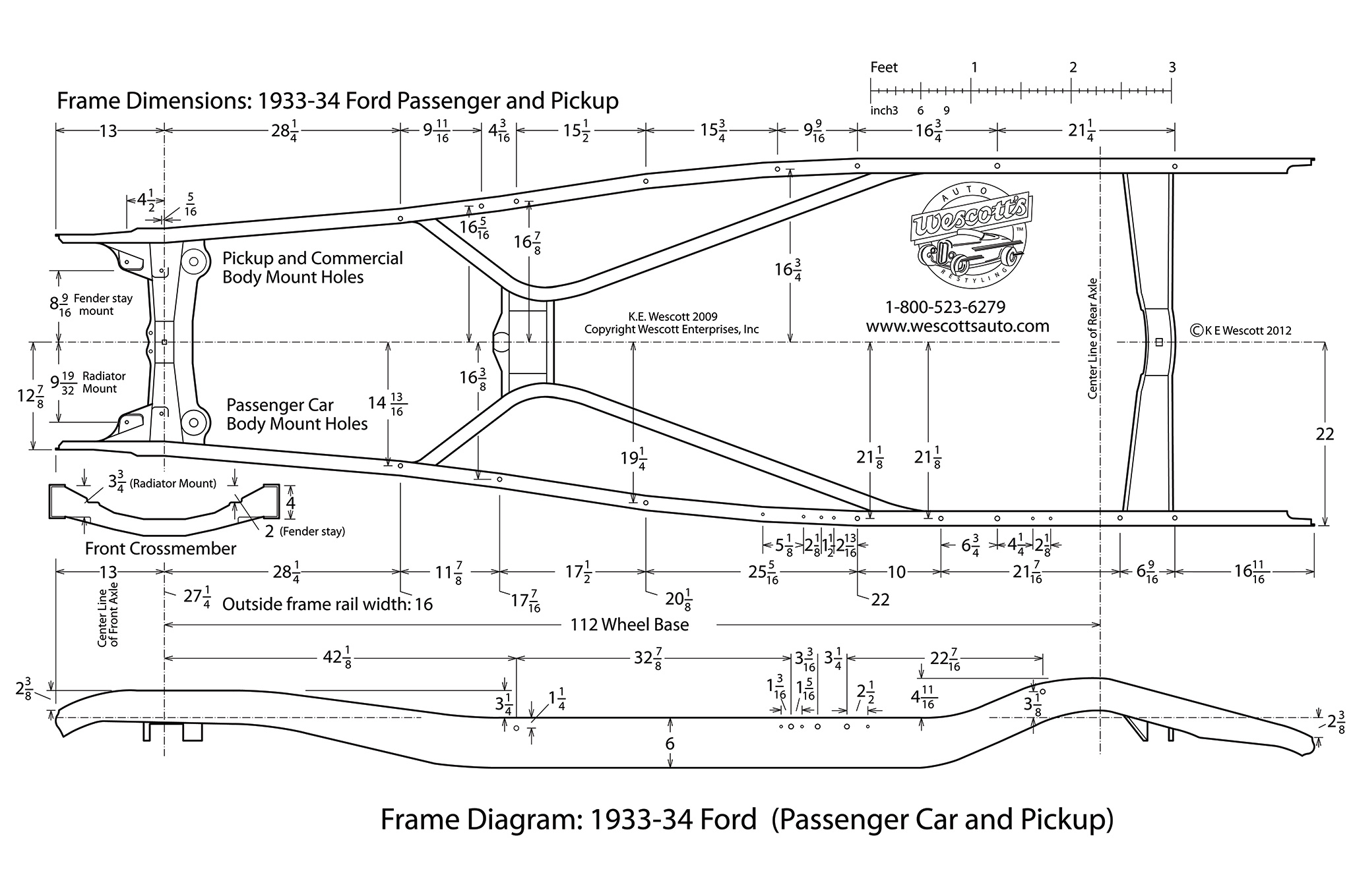 The location of where the stations will meet up with the stock frame came from a blueprint created by the folks at Wescott's Auto (and available for free on their website). The measurements also show how wide the front spreader bar spacing should be.