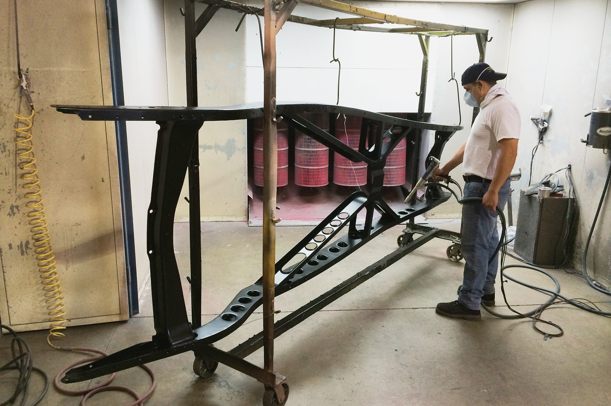 To prevent any rust from grabbing hold of the fresh metal, the frame received a quick powdercoating at Eddie Motorsports in Southern California. They coated the frame in a satin black—not too glossy and not too flat.