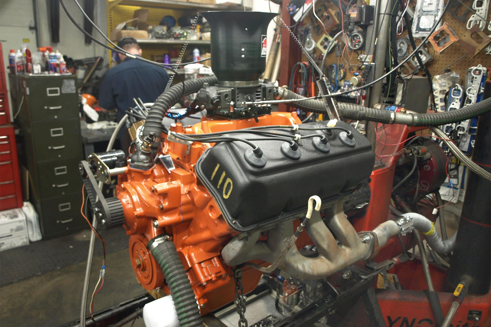 In baseline form, R.A.D. tested with the M1, a Holley HP series 850 and reproduction Street Hemi exhaust manifolds. Everyone smiled when it made 555.8 hp at 6,100 rpm and 541.5 lb-ft at 4,000 rpm. We've got more cam, but otherwise this is basically stock stuff!