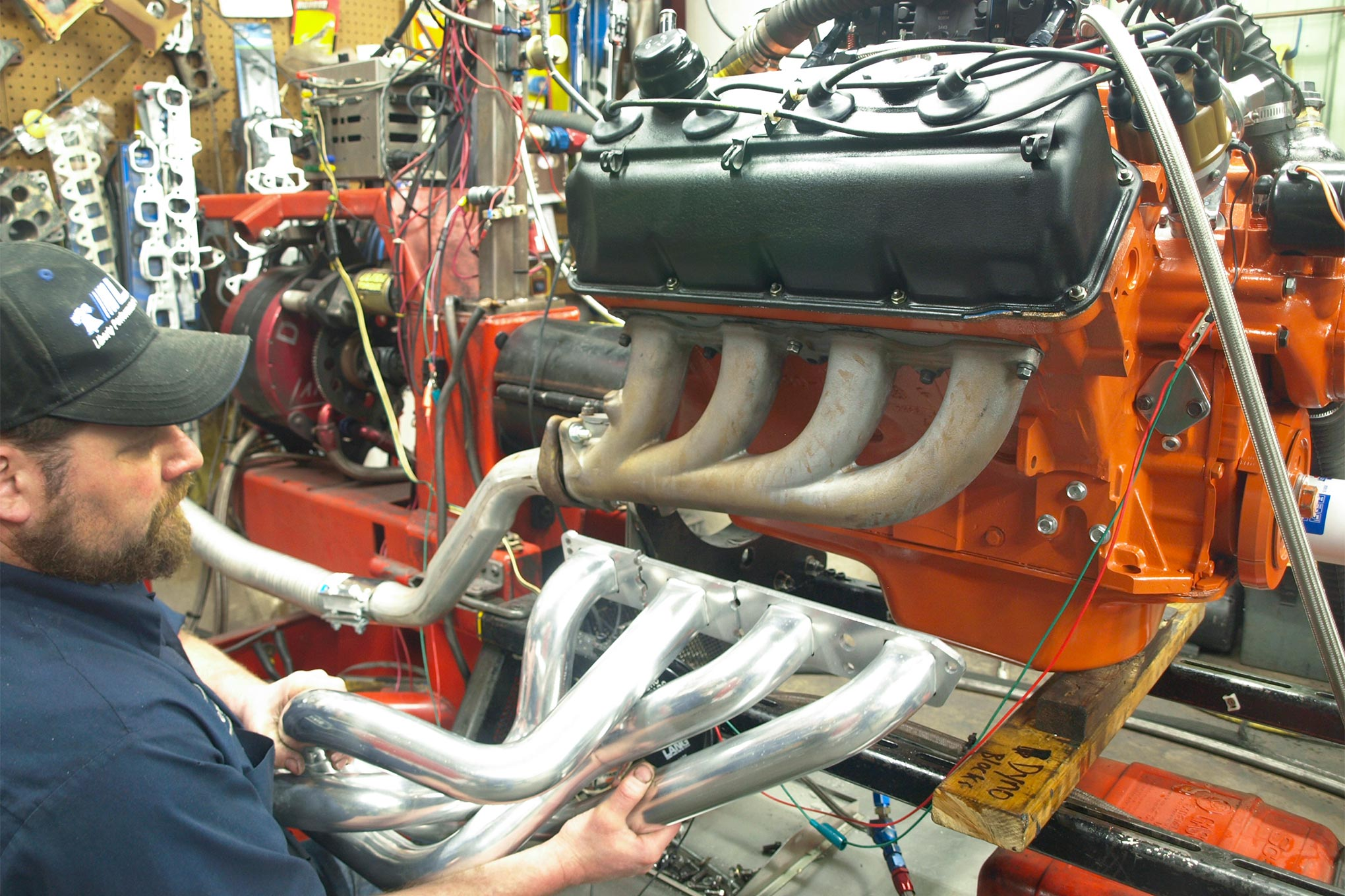 Next, Steve Chmura swapped the castings for a set of Hooker Super Competition headers. With 2.125-inch-diameter, 30-inch-long primary tubes and 3.5-inch collector outlets, they delivered 569.2 hp at 5,900 rpm and 544.5 lb-ft at 4,600 rpm. To offset a mild lean condition, the HP 850's jets were increased from 94/98 to 99/99.