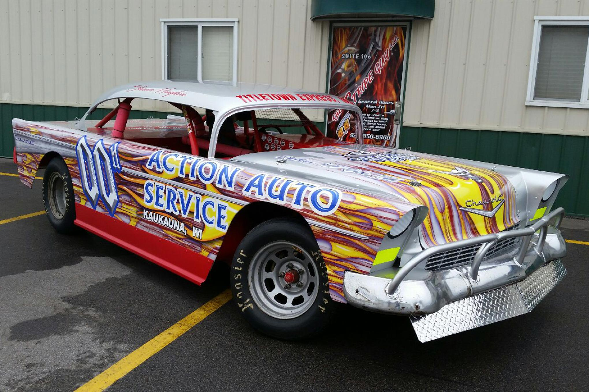 The '56 Chevy Four-Door Bel Aire constructed by Ed Howard, Shawn Haydon and the team at Action Auto.