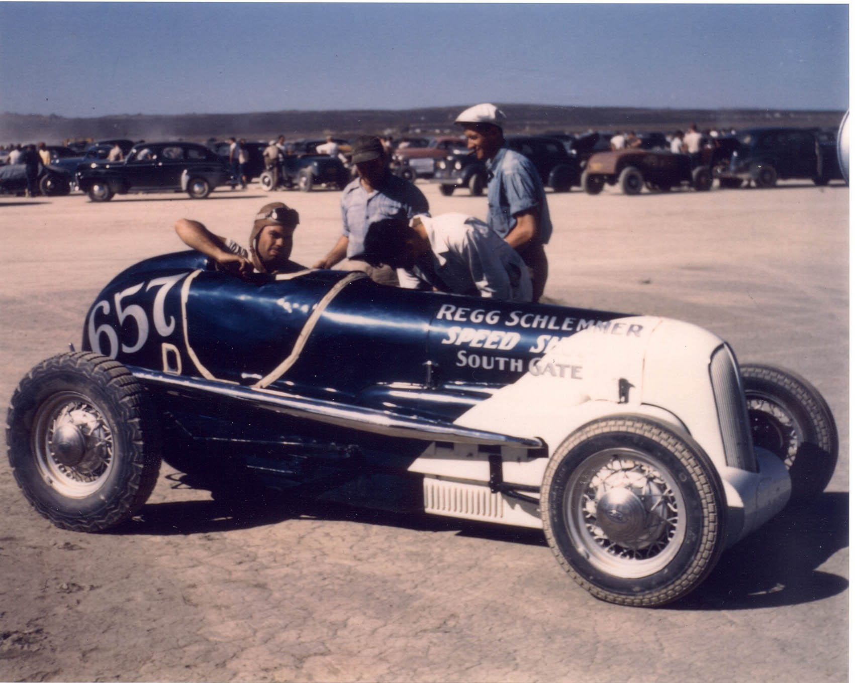 A year later, Emil Dietrich is the car's new owner. A changing SCTA rulebook outlawed modifieds, so Dietrich, like many other modified racers at the time, converted the car to the streamliner class with the addition of a tail panel. In this trim—flathead tuned by Regg Schlemmer, driven by Ed Hulse (seen here) and Kenny Parks—the Dietrich-Thomas car held the streamliner record and tied for First in points for the 1947 season.