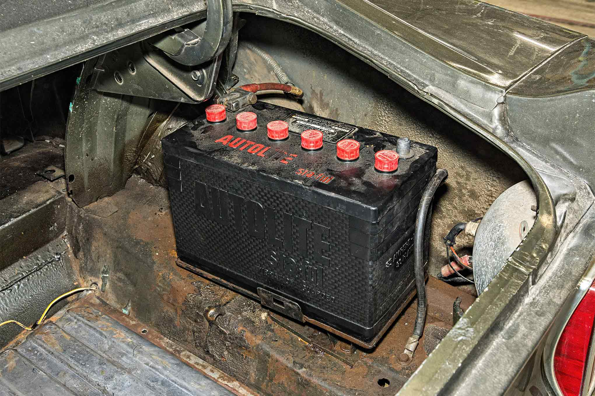 This is not the battery Kar Kraft installed, but it is from the period. Could it be just the second one ever installed in this car?