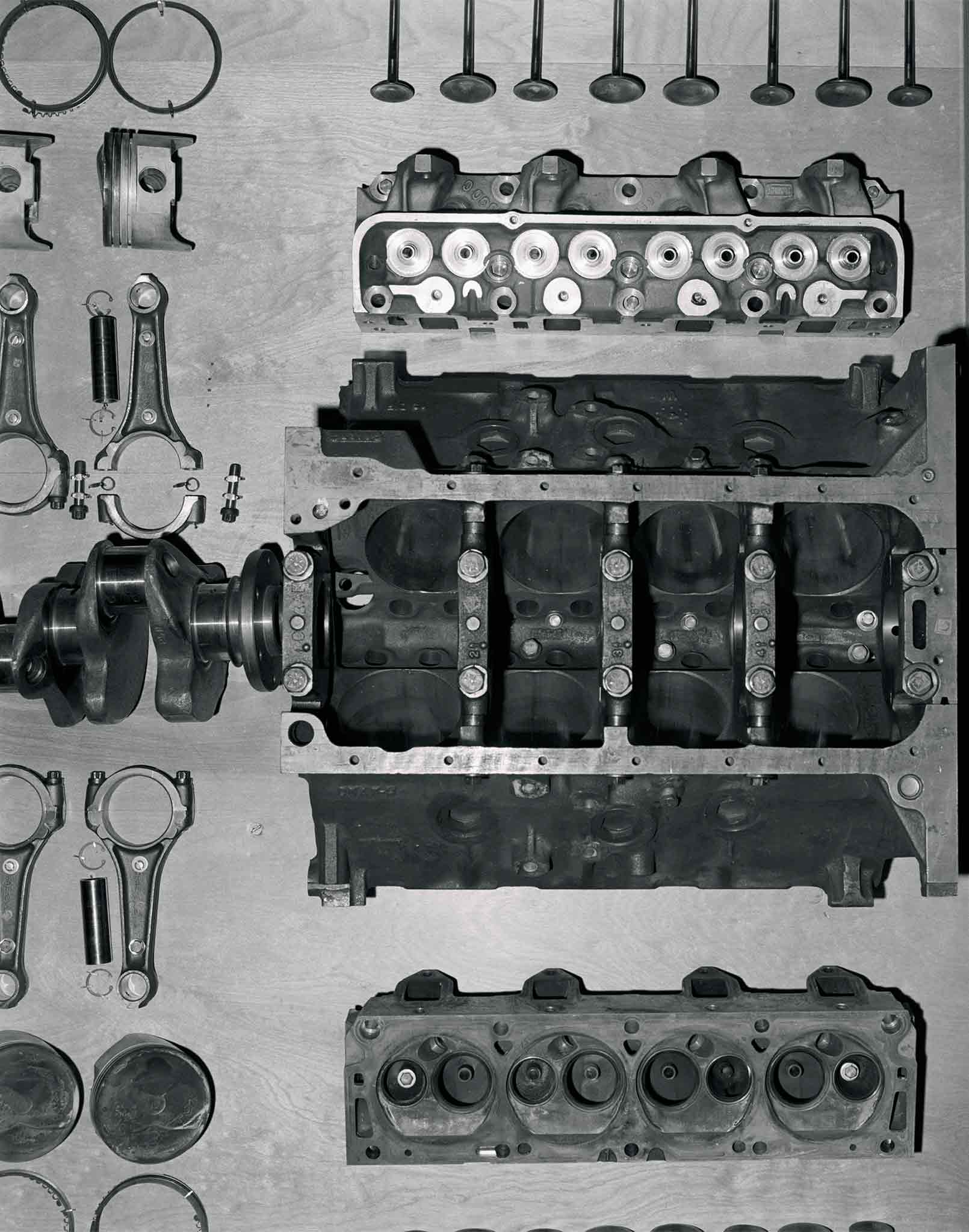 "You clearly see this is a factory stock 427 block with its telltale cross-drilled main caps. Spacers positioned between the caps and skirt were custom-fit to each 427 engine. Being a ""side-oiler,"" the main oil gallery runs along the left side of the block, entering from the oil-filter housing near the front running front to back. Drilled passages feed oil to the main and cam bearings at each main web. Screw-in freeze plugs were another identifying feature of the 427. These 427 blocks were all stress relieved."