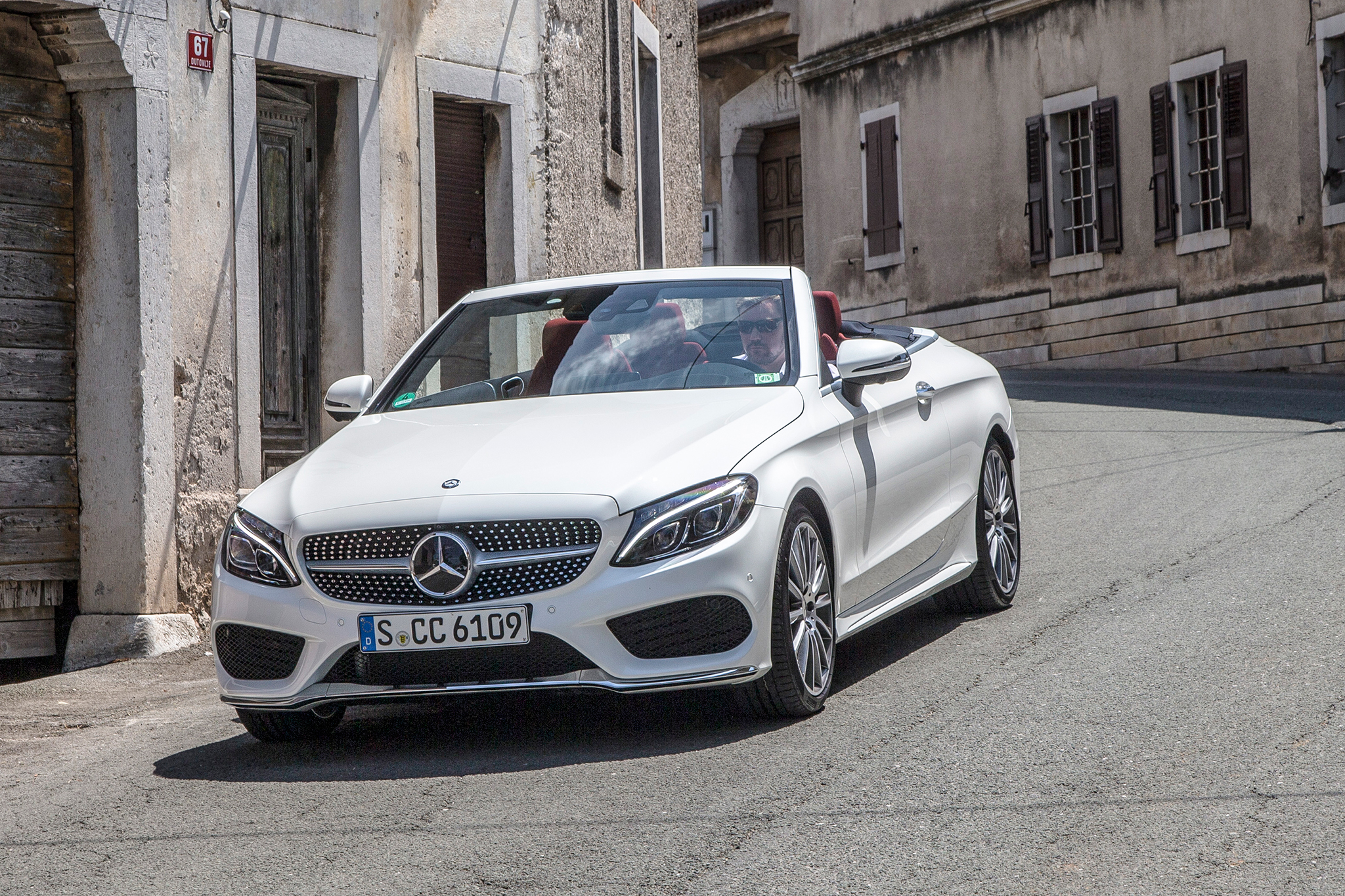 2017 C300 Cabriolet standard features include LED headlights, a rear view camera, heated power front seats, heated neck-warming front-seat vents, hands-free keyless access, and the Dynamic Select system.