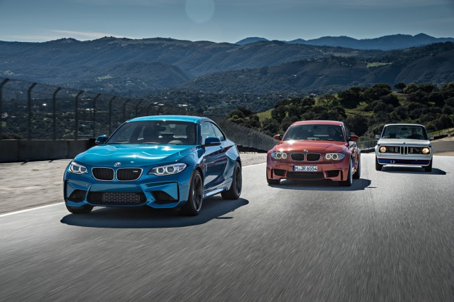 2016 BMW M2 BMW 2002 Turbo and BMW 1 Series M Coupe front three quarter in motion