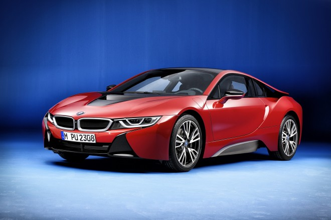 2017 BMW i8 Protonic Red Edition front three quarters