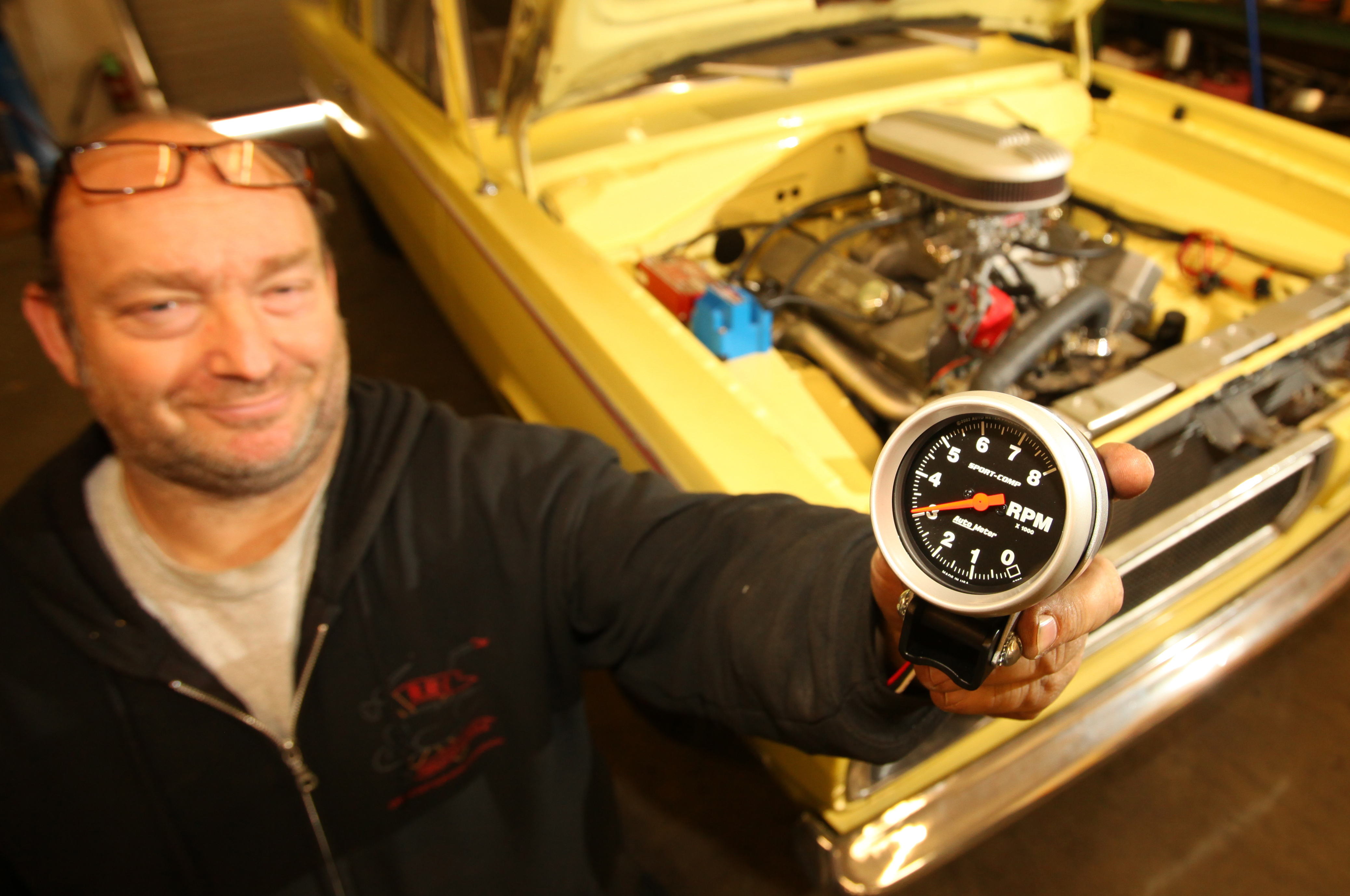 Auto Meter Tachometer Tach It On Hot Rod Network To Msd 6al Box Wiring Bill Richman Of Rrc Fabrication Speed In Upland California Holds Up Meters
