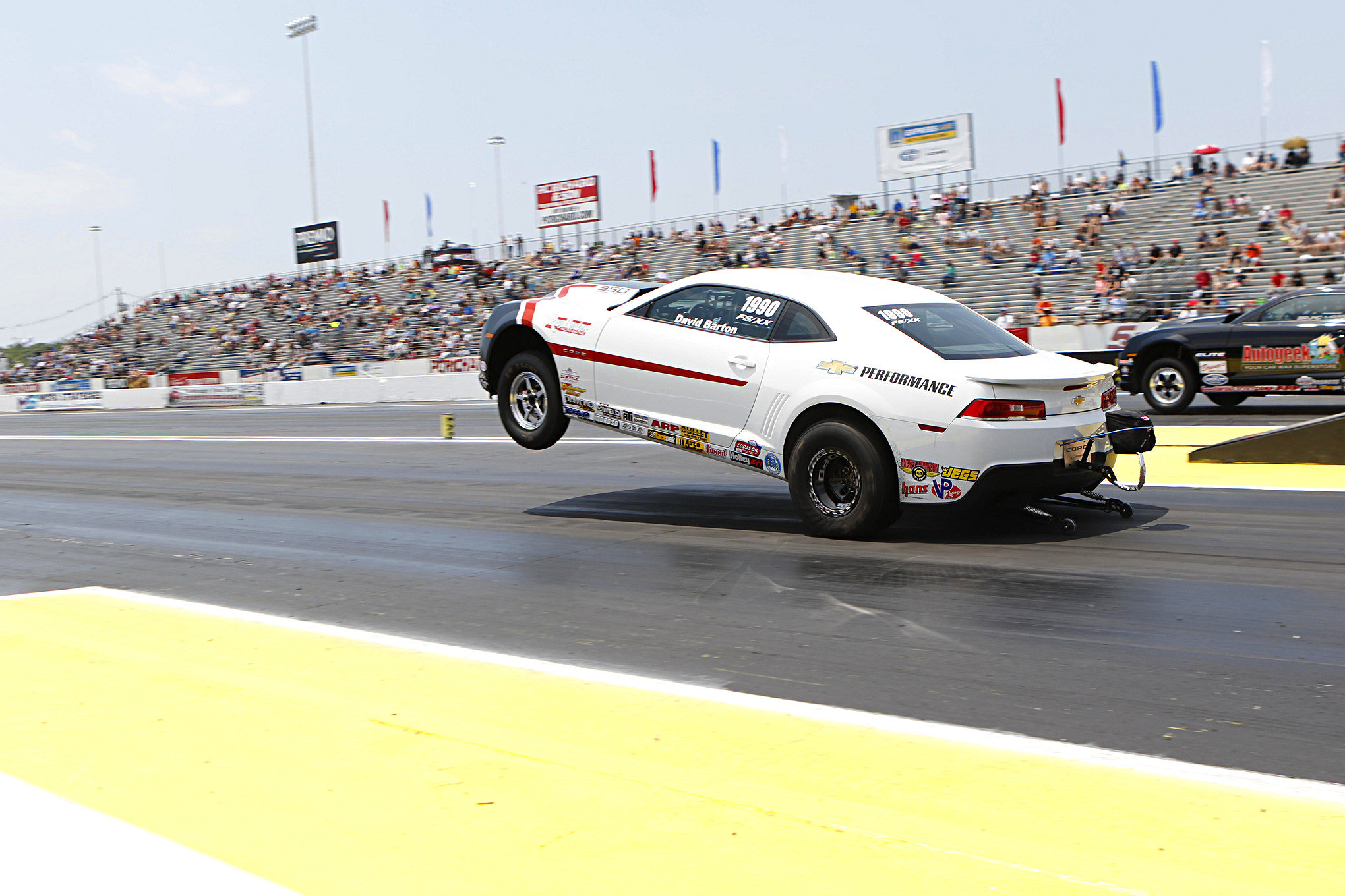 Barton was on a mission, running as quick as 8.25/165 during qualifying. This was the quickest and fastest pass ever recorded by a NHRA Stock Eliminator car. Keep in mind this was done on 9-inch tires!