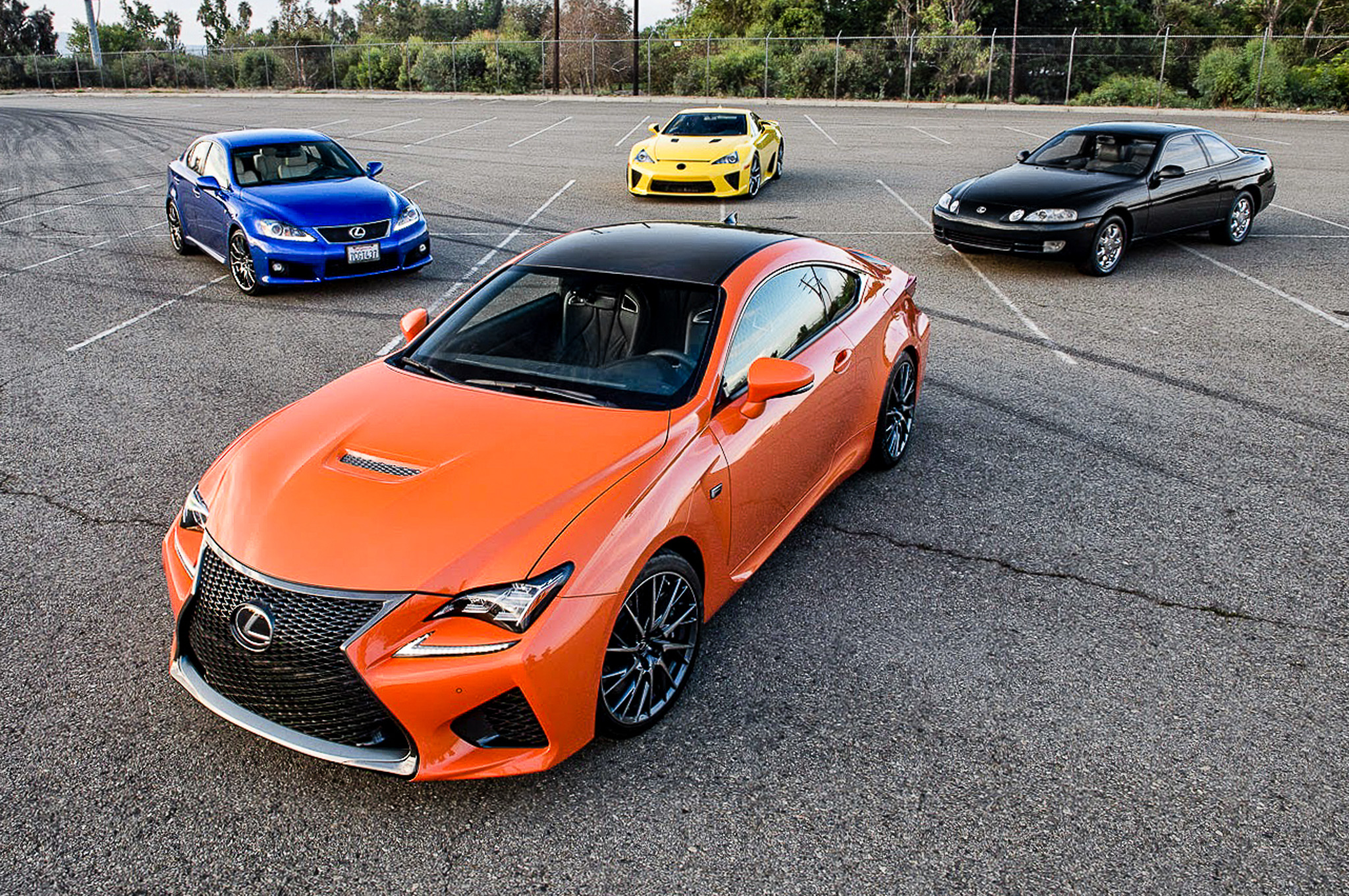 2015 Lexus RC F Poses With LFA, IS F, SC 400