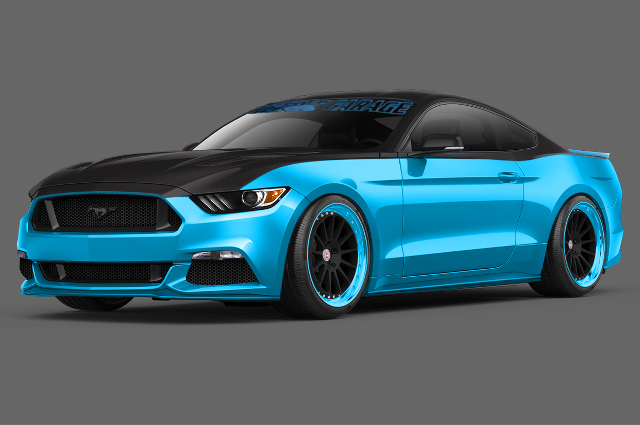 Two modified 2015 ford mustang coupes head to sema