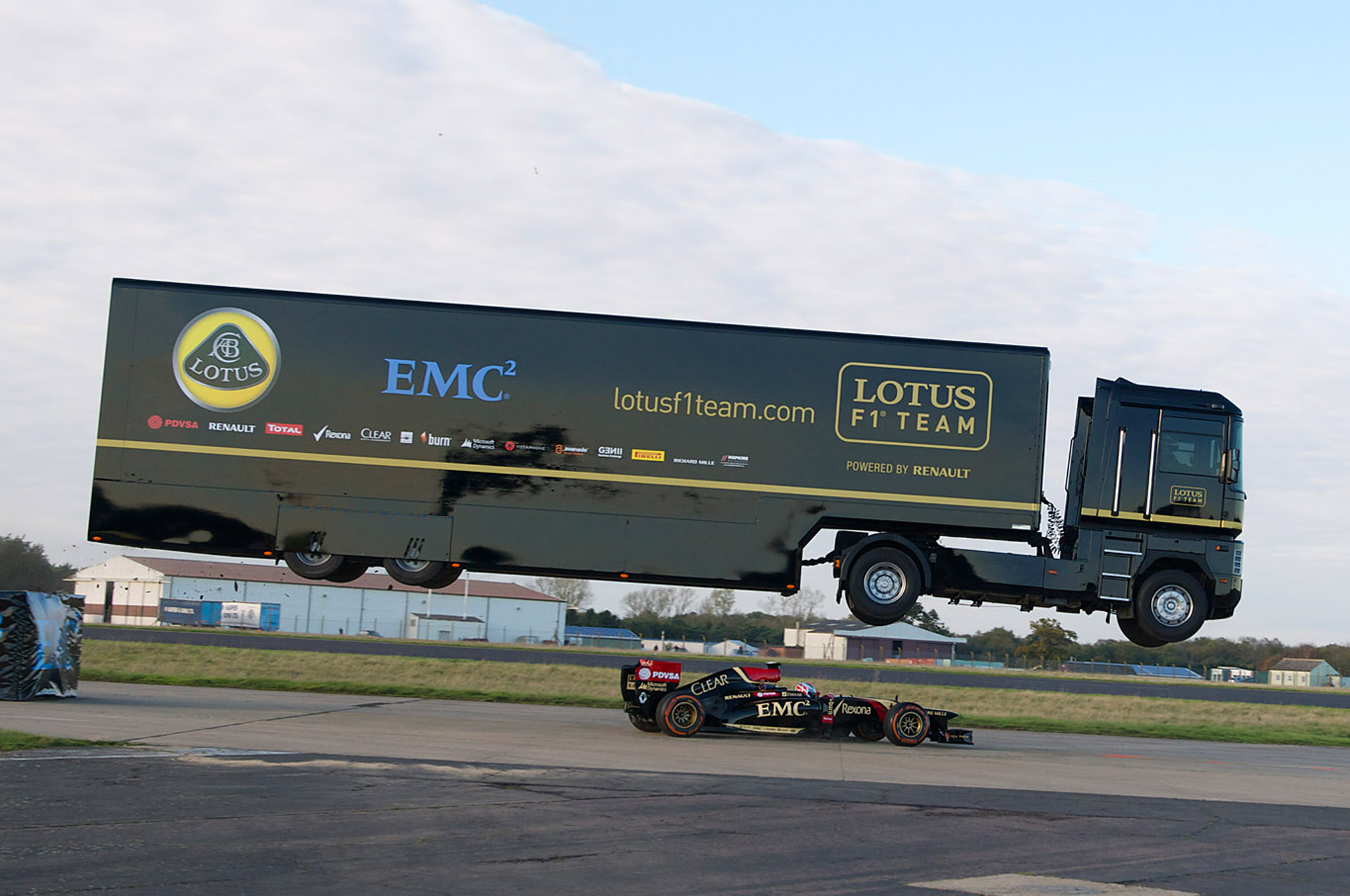 Lotus F1 Ends 2014 Season by Racing Under an Airborne Semi-Truck
