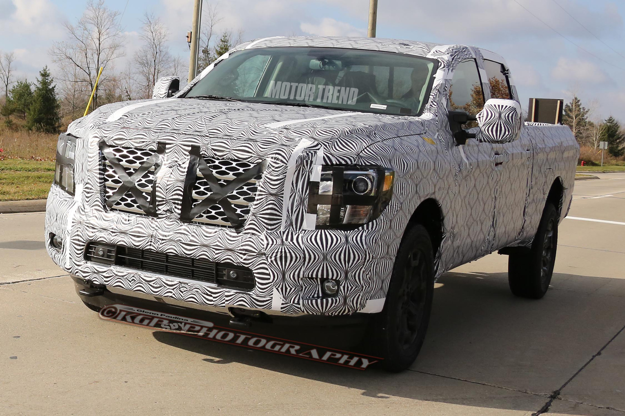 Spied! Nissan Titan Prototype Shows Off Projector Headlights
