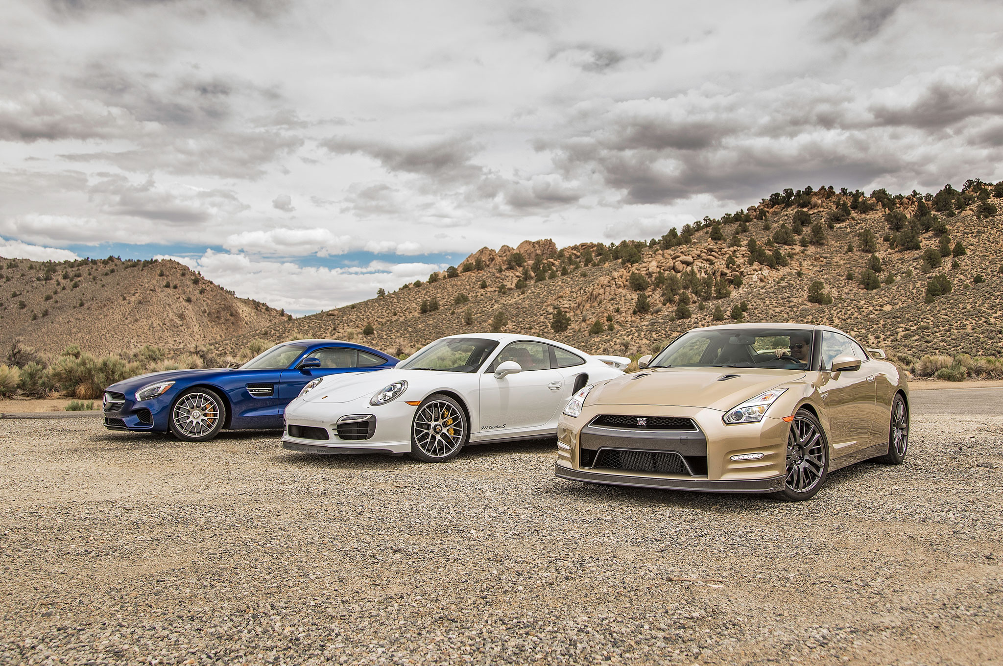 Mercedes amg gt s vs porsche 911 turbo s vs nissan gt r 45th anniversary comparison motortrend