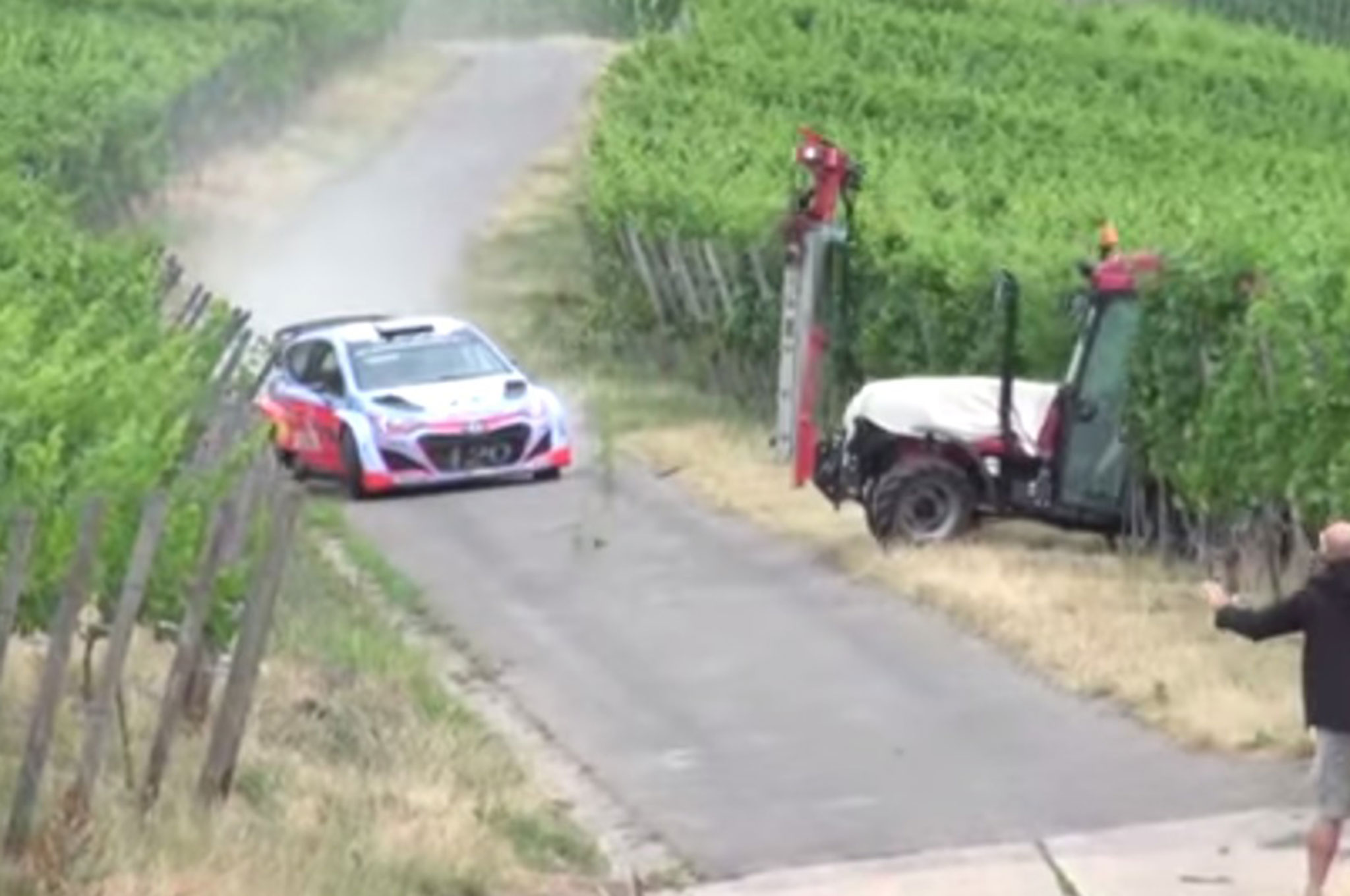 Brake Time Tractor Dramatically Interrupts Rally Car Test Run
