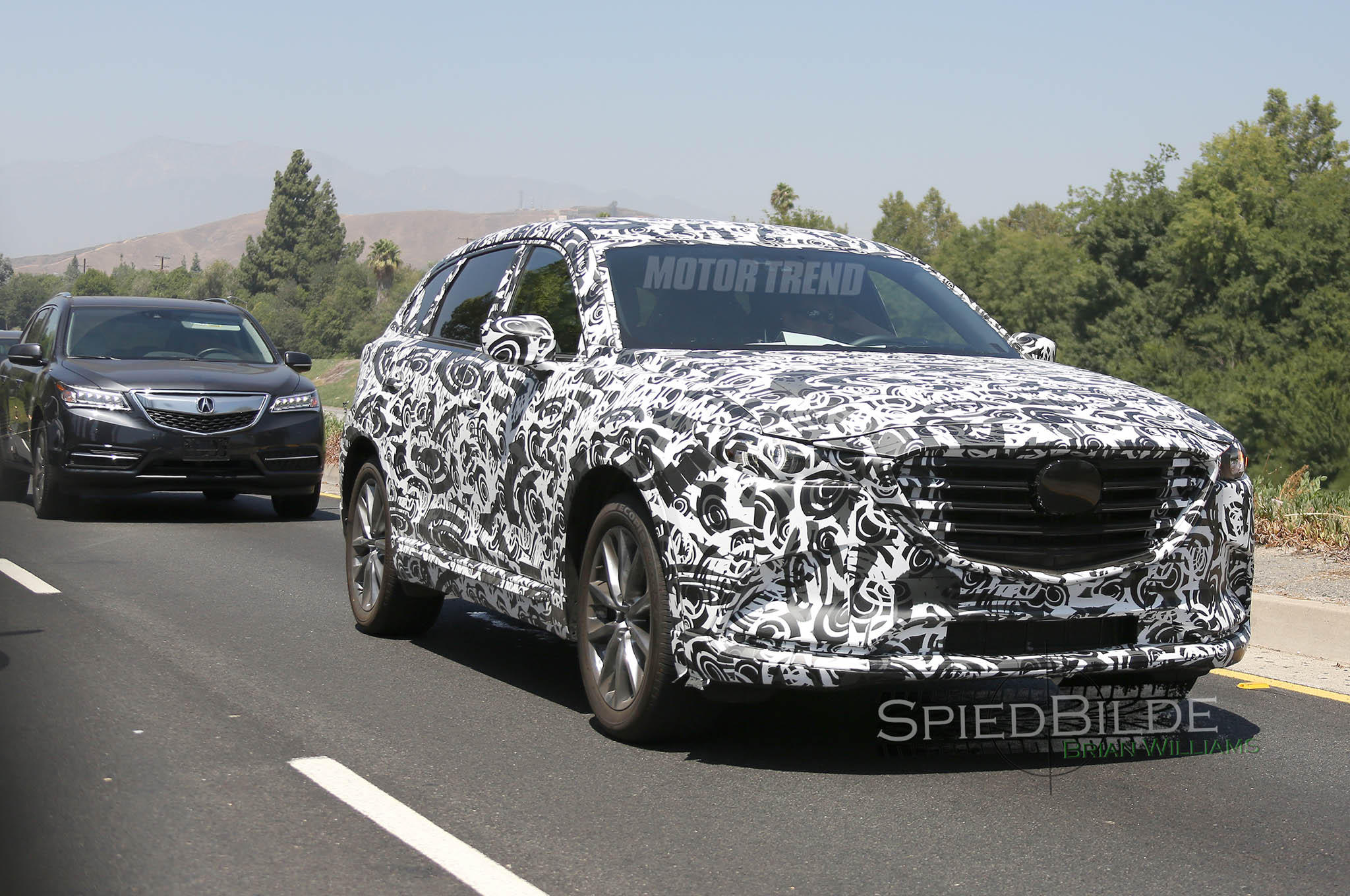Next-Gen Mazda CX-9 Prototype Caught Testing With an Acura MDX